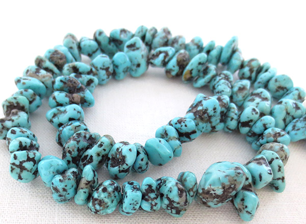 Turquoise Nugget & Sterling Silver Necklace 18 Native American Jewelry - 1737rb