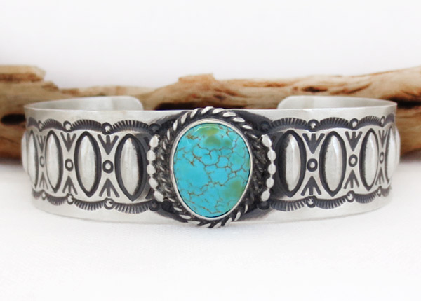 Image 0 of Turquoise & Sterling Silver Bracelet Native American Jewelry - 1729rb