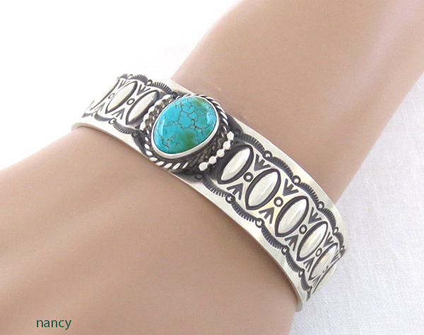 Image 1 of Turquoise & Sterling Silver Bracelet Native American Jewelry - 1729rb