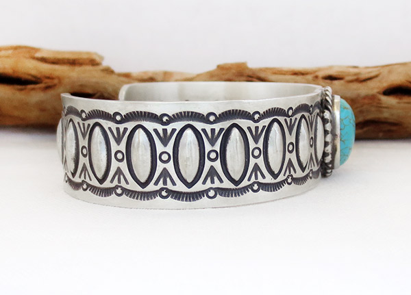 Image 2 of Turquoise & Sterling Silver Bracelet Native American Jewelry - 1729rb