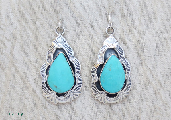 Turquoise & Stamped Sterling Silver Earrings Native American Jewelry - 1712rb