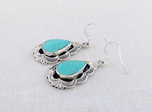 Image 1 of    Turquoise & Stamped Sterling Silver Earrings Native American Jewelry - 1712rb