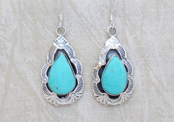 Image 0 of    Turquoise & Stamped Sterling Silver Earrings Native American Jewelry - 1712rb