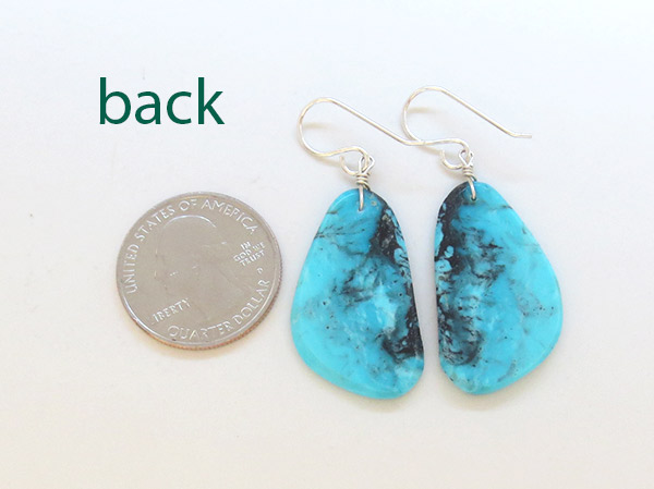 Image 2 of        Native American Jewelry Turquoise Slab Earrings - 1739pl