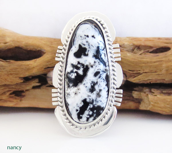 Image 0 of      White Buffalo Stone & Sterling Silver Ring Sz 8 Navajo Jewelry - 1945sn