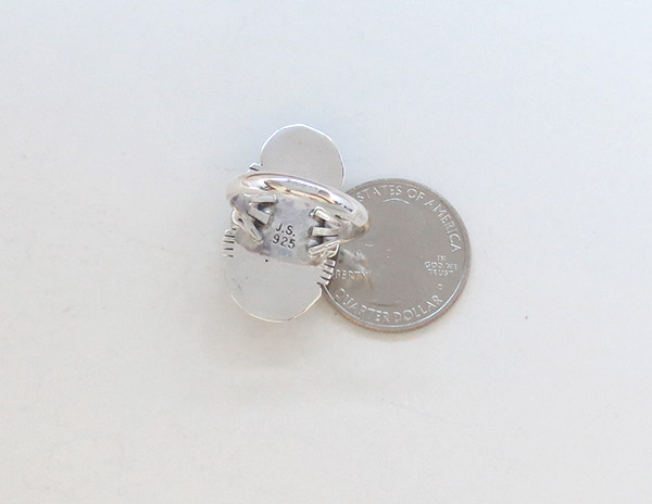 Image 3 of White Buffalo Stone & Sterling Silver Ring Sz 8 Navajo Jewelry - 1945sn