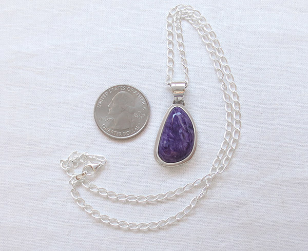 Image 1 of     Charoite & Sterling Silver Pendant W/Chain Native American Jewelry - 1786sn