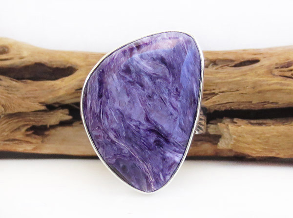 Image 0 of    Charoite & Sterling Silver Ring Sz 9 Native American Jewelry - 1745sn