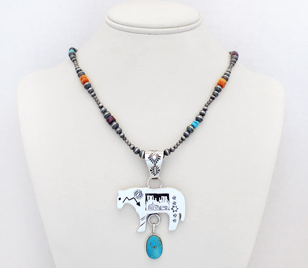 Image 1 of Sterling Silver Bead Turquoise & Spiny Oyster Necklace 18