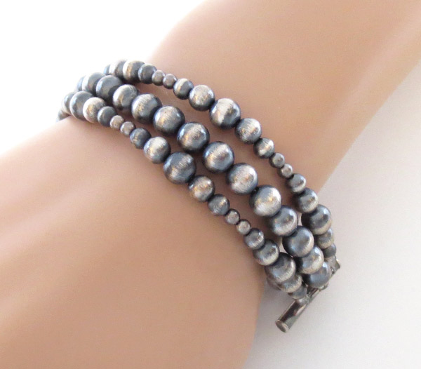 Sterling Silver Desert Pearl Bead Bracelet Native American Jewelry - 1742ft