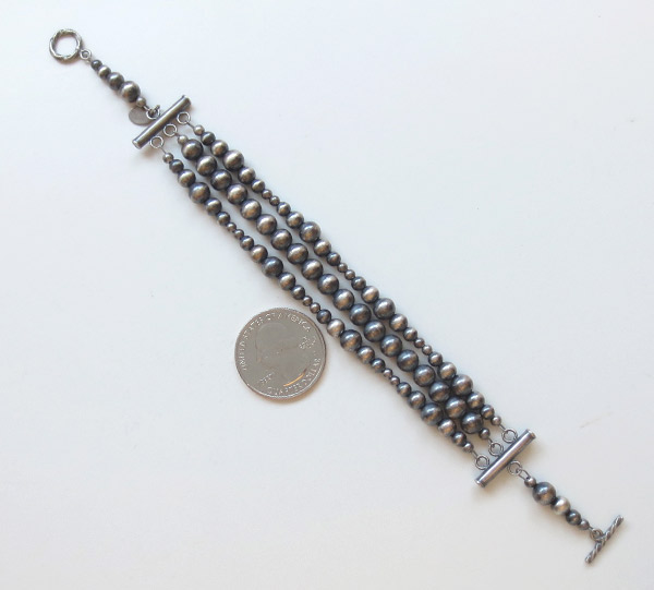 Image 1 of     Sterling Silver Desert Pearl Bead Bracelet Native American Jewelry - 1742ft