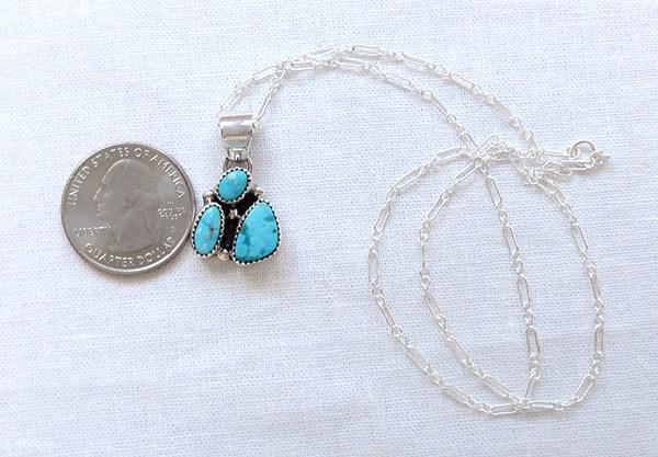 Image 1 of         Kingman Turquoise Pendant Native American Jewelry - 1790sn