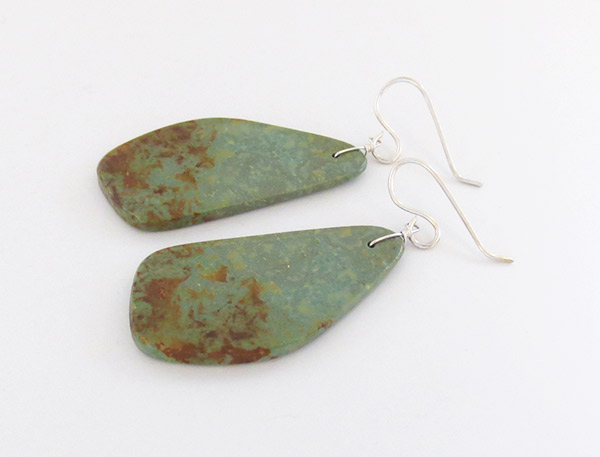 Image 1 of      Turquoise Slab Earrings Native American Jewelry - 1783rio