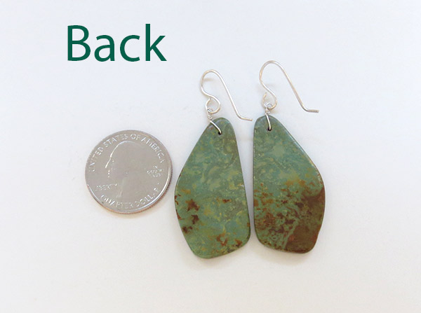 Image 2 of      Turquoise Slab Earrings Native American Jewelry - 1783rio