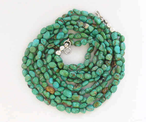 Sterling Silver & Turquoise 3 Strand Necklace 18  Navajo Made - 1929sn