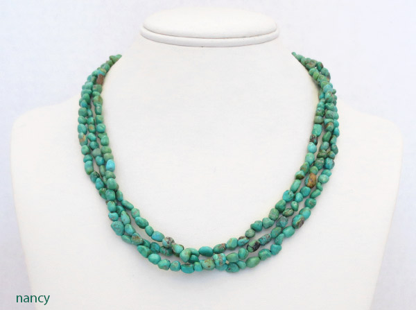 Image 1 of    Sterling Silver & Turquoise 3 Strand Necklace 18