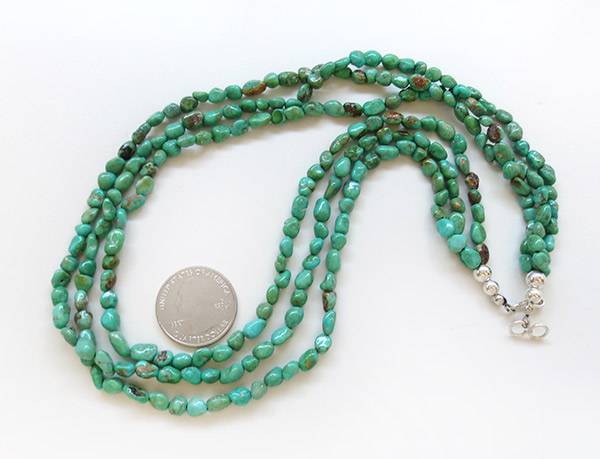 Image 2 of    Sterling Silver & Turquoise 3 Strand Necklace 18