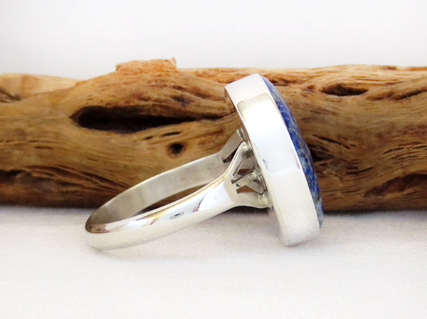 Image 2 of    Denim Lapis & Sterling Silver Ring sz 10 Native American Jewelry - 1305sn