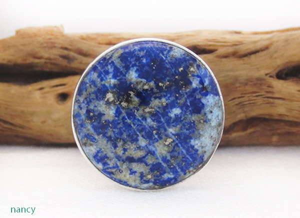 Image 0 of    Denim Lapis & Sterling Silver Ring sz 10 Native American Jewelry - 1305sn