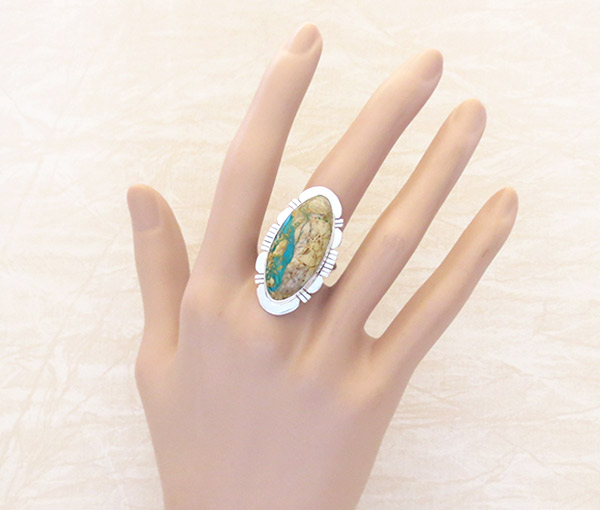 Image 1 of   Native American Jewelry Boulder Turquoise & Sterling Silver Ring Sz 9 - 1304sn