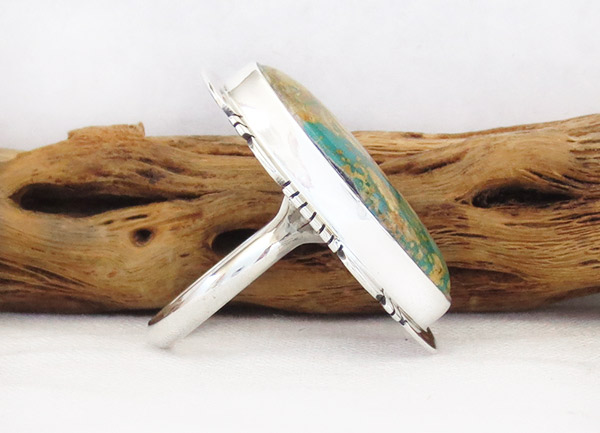 Image 2 of   Native American Jewelry Boulder Turquoise & Sterling Silver Ring Sz 9 - 1304sn