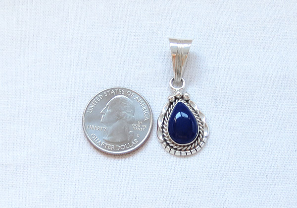 Image 1 of      Small Lapis & Sterling Silver Pendant Native American Jewelry - 1302rb