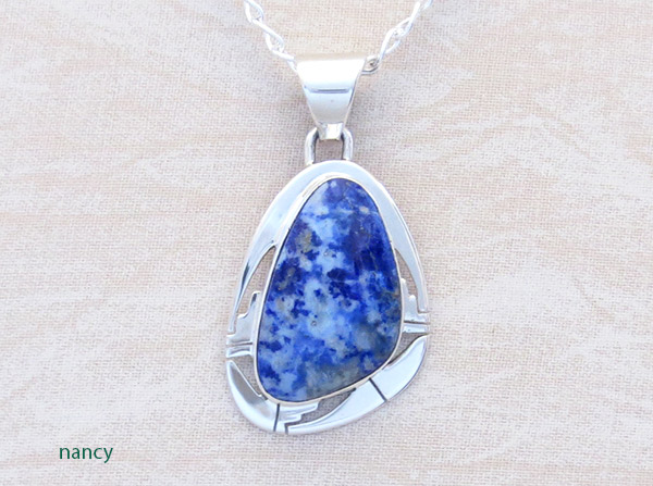 Denim Lapis & Sterling Silver Pendant Native American Jewelry - 1308sn