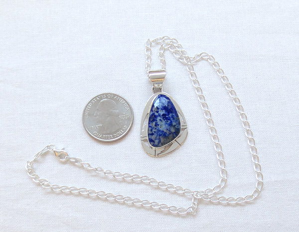 Image 1 of Denim Lapis & Sterling Silver Pendant Native American Jewelry - 1308sn