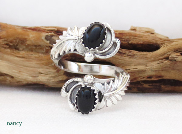 Image 0 of    Black Onyx & Sterling Silver Adjustable Ring Native American Jewelry - 1307rb