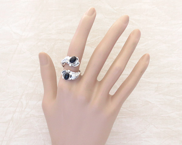 Image 1 of    Black Onyx & Sterling Silver Adjustable Ring Native American Jewelry - 1307rb