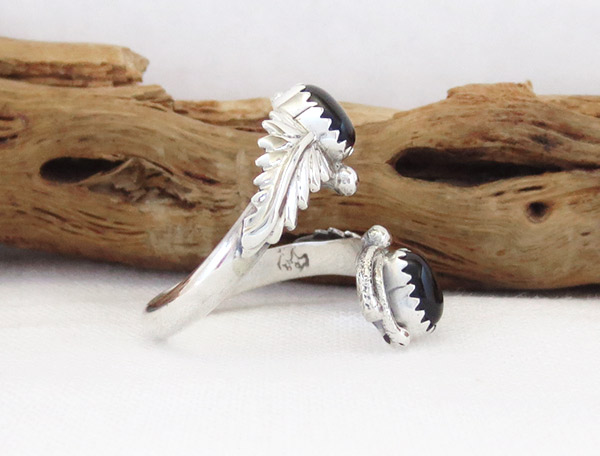 Image 2 of    Black Onyx & Sterling Silver Adjustable Ring Native American Jewelry - 1307rb