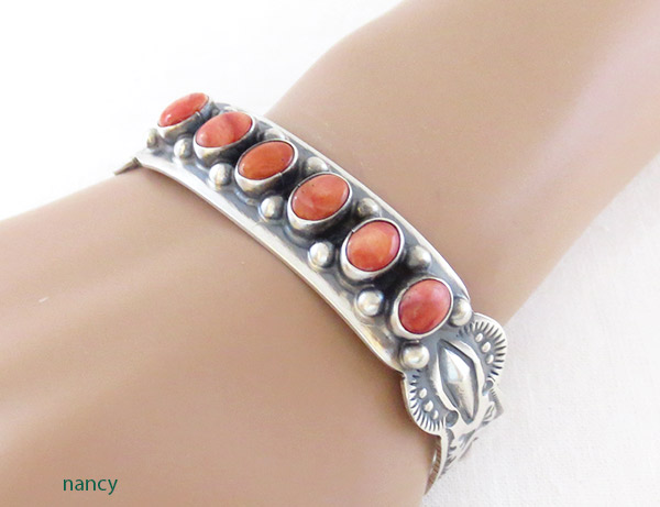 Spiny Oyster Sterling Silver Bracelet Native American Jewelry - 1306sn