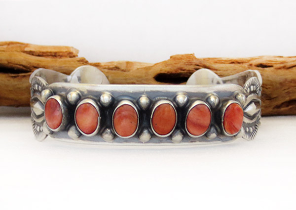 Image 1 of Spiny Oyster Sterling Silver Bracelet Native American Jewelry - 1306sn