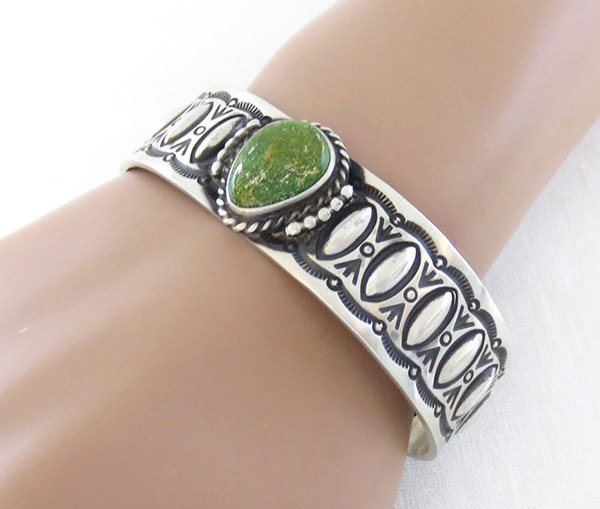 Image 1 of    Turquoise & Sterling Silver Bracelet Native American Jewelry - 1314rb
