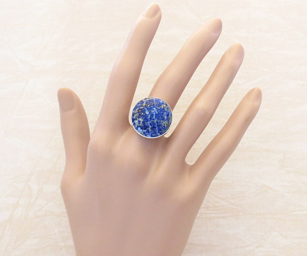 Image 1 of      Denim Lapis & Sterling Silver Ring sz 7.75 Native American Jewelry - 1316sn