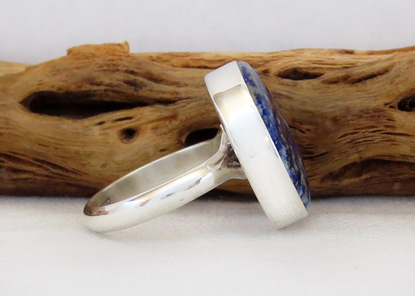 Image 3 of    Denim Lapis & Sterling Silver Ring sz 7.75 Native American Jewelry - 1316sn