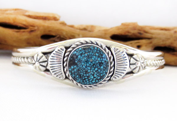 Turquoise & Sterling Silver Bracelet Native American Jewelry - 1317dt
