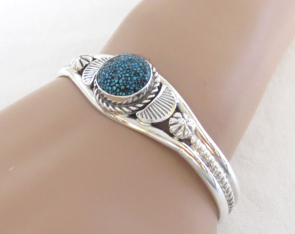Image 1 of   Turquoise & Sterling Silver Bracelet Native American Jewelry - 1317dt