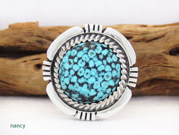 Native American Jewelry Turquoise & Sterling Silver Ring Sz 8 - 1315dt