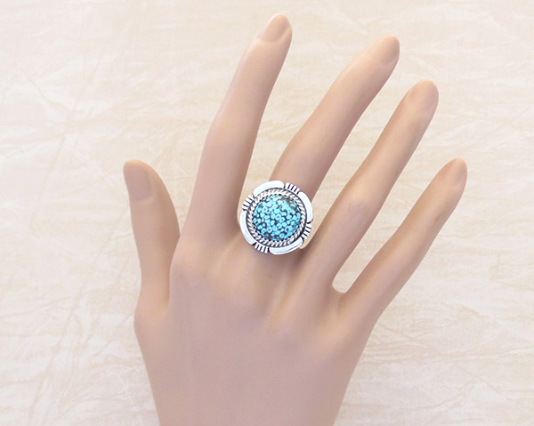 Image 1 of Native American Jewelry Turquoise & Sterling Silver Ring Sz 8 - 1315dt
