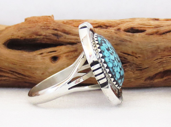 Image 2 of Native American Jewelry Turquoise & Sterling Silver Ring Sz 8 - 1315dt