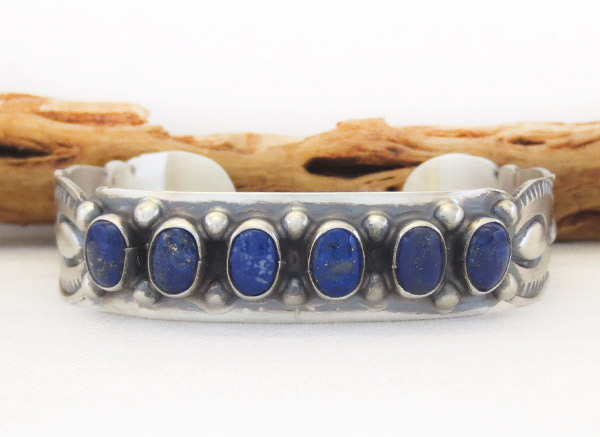 Image 0 of  Lapis Sterling Silver Bracelet Native American Jewelry - 1405sn