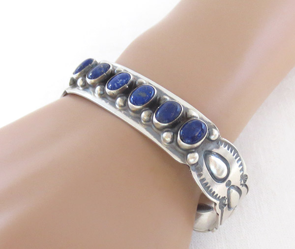 Image 1 of  Lapis Sterling Silver Bracelet Native American Jewelry - 1405sn