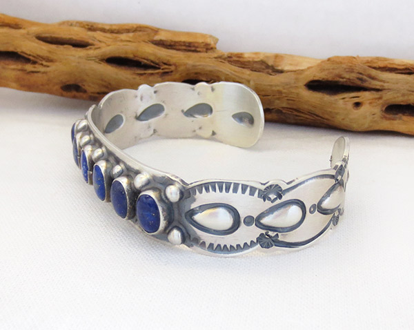 Image 3 of  Lapis Sterling Silver Bracelet Native American Jewelry - 1405sn