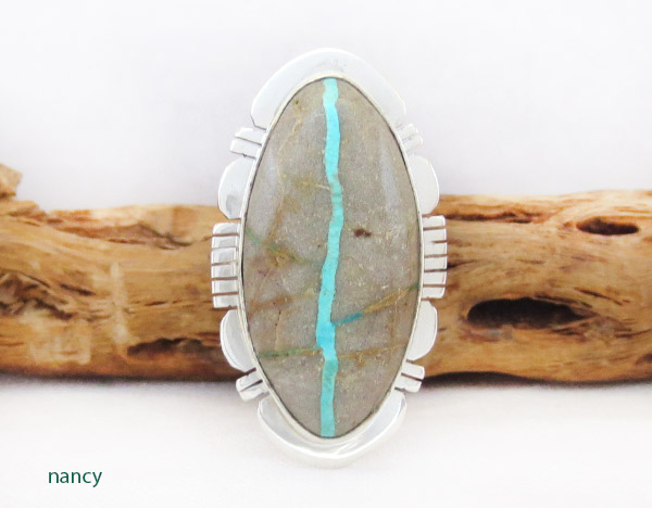 Native American Jewelry Boulder Turquoise & Sterling Silver Ring Sz 8.5 - 1403sn