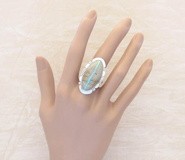 Image 1 of Native American Jewelry Boulder Turquoise & Sterling Silver Ring Sz 8.5 - 1403sn
