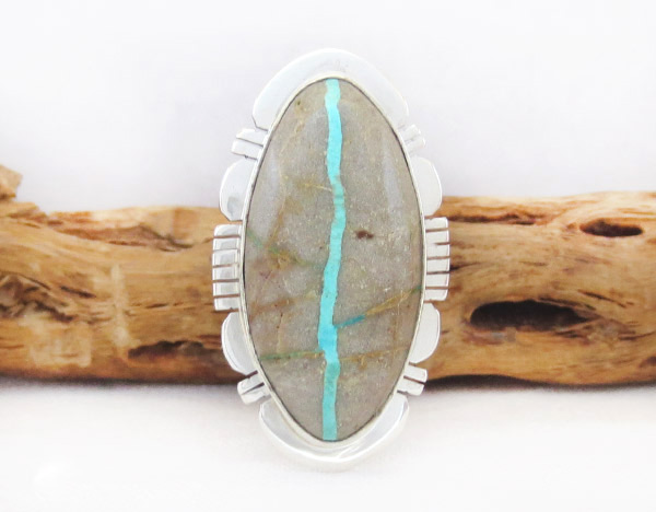 Navajo Jewelry Boulder Turquoise & Sterling Silver Ring Sz 8.5 - 1403sn