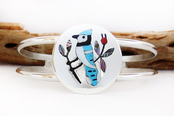 Blue Bird Inlay Bracelet Zuni Native American Jewelry - 1406dt