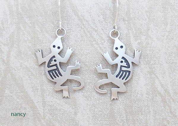 Image 0 of Sterling Silver Lizard Earrings Native American Jewelry - 1408sn