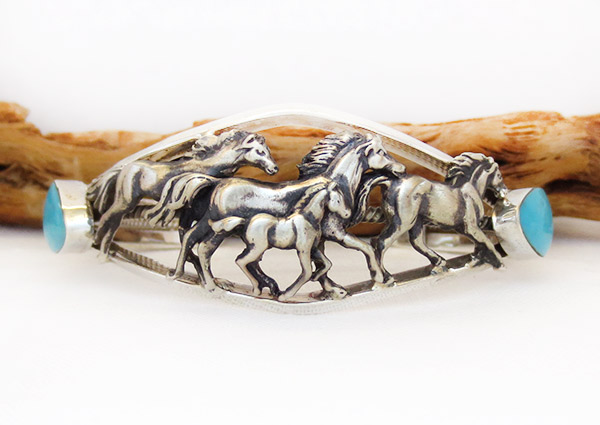 Image 0 of   Sterling Silver & Turquoise Horse Bracelet Native American Jewelry - 1407rb